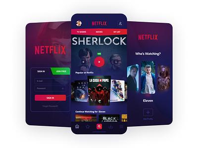 Netflix Redesign redesign concept branding series movie userinterface netflix cinema application logo uidesign interaction dribbble ios design ux ui
