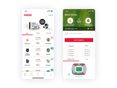Passo - Football Tickets App buy ticketcs buy now dribbble userinterface interaction uidesign ux ui ticketcs mobile match app passolig passo basketball sports soccer football