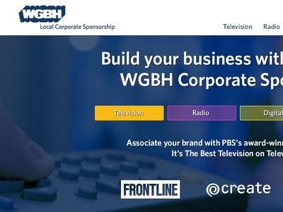 Local Corporate Sponsorship site redesign homepage web page design web design wgbh