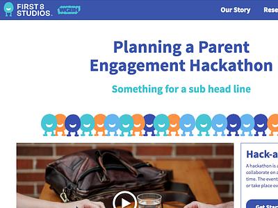 Landing Page for First 8 Studios Hack-a-thon landing page design web design