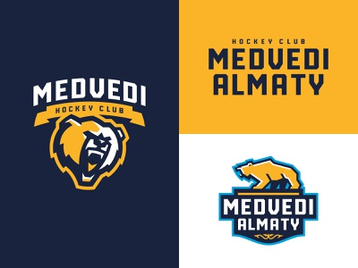 Hockey Club Medvedi Almaty sublogo character bear mascot animal hockey sport logotype logo