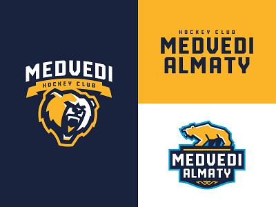 Hockey Club Medvedi Almaty sublogo character bear mascot animal hockey sport logotype logo
