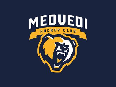 HC Medvedi Almaty bear animal hockey mascot logotype sport logo
