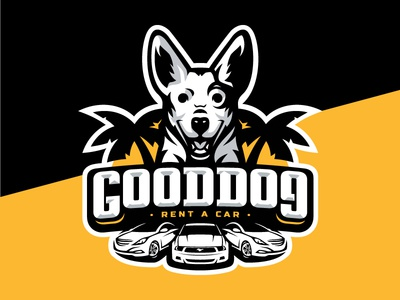 Gooddog rent mustang palm sun car dog logo