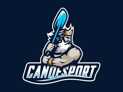 Canoesport crown king canoe sport mascot poseidon neptune logotype logo
