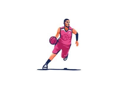 Dribbble player art vector nba team basketball