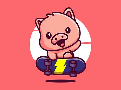 Skateboard pig..!! drawing digitalart design illustration characters characterdesign illustration art skateboard pig piggi