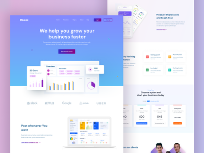 SaaS Landing Page hero section grow business linear colour web page home 2021 ui ux template saas landing page saas ux ui figma landing page design
