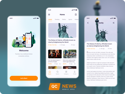News Mobile Application _ UI UX Design screen glass clean product design blog article ios mobile figma ux ui mobile app design news mobile apps