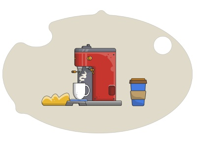 Coffee Machine vector illustration coffee maker coffee cup illustration