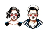 Tattoo Flash Sailor And Girl
