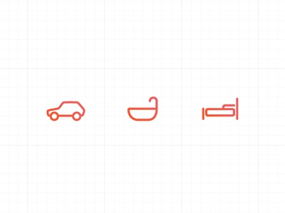 Real Estate Icons icons illustration real estate car bath bed property