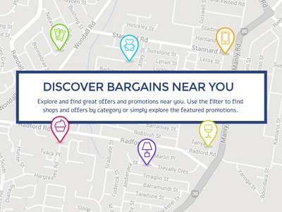 Map View discover icons illustration app bargains pocket map location web design