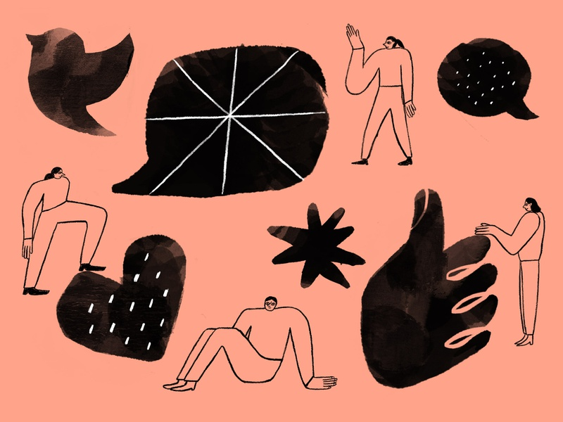 Mailchimp: Building customer relationships through social media black and white illustration