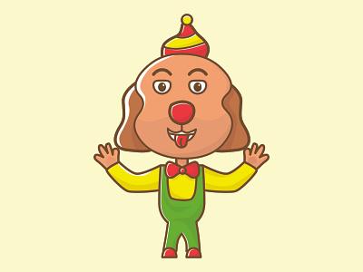 clown dog cartoon clown mascot clown mascot dog cartoon dog dog cartoon mascot clown vector illustration design chibi