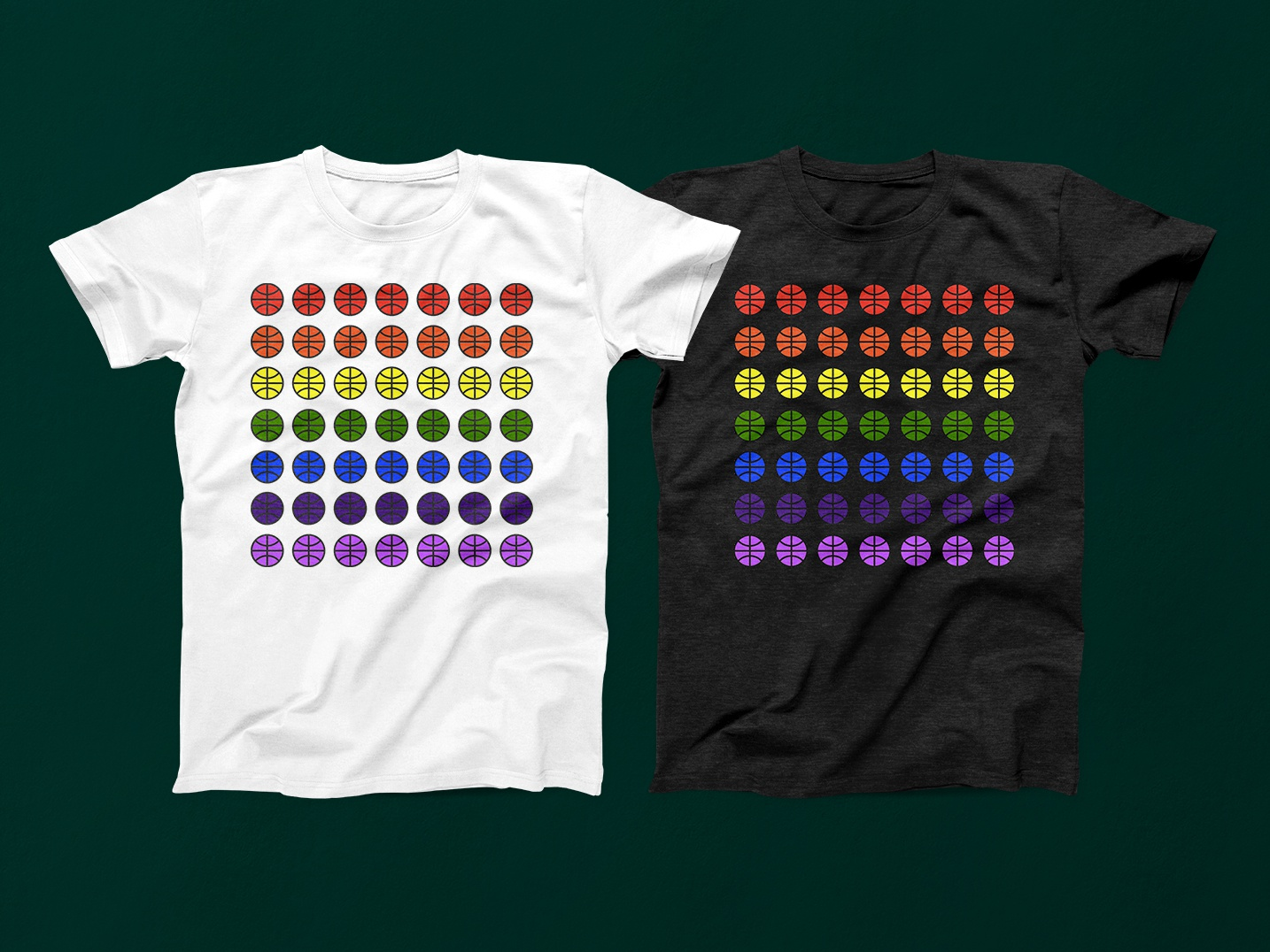 Queer Love & Basketball Shirts shirt mockup shirt design shirt shirts rainbow queer basketball iconography illustration