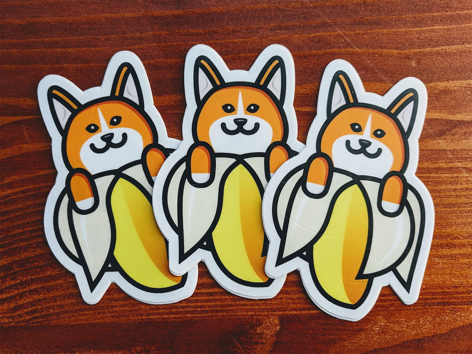 Final Banana Corgi Sticker dog corgi stickermule sketch sticker vector design illustration