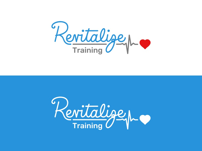 Revitalize Training Brand Identity health type logo cpr training revitalize brand brand identity brand and identity heart rhythm logotype branding iconography lettering hand lettering vector icon typography illustration