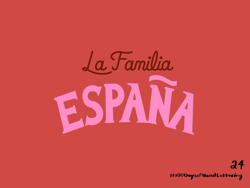 Day 24: 100 Days of Hand Lettering process video process espanol spanish familia family tang espana red 100daysofhandlettering ipad blue procreate type 100dayproject design lettering hand lettering typography illustration