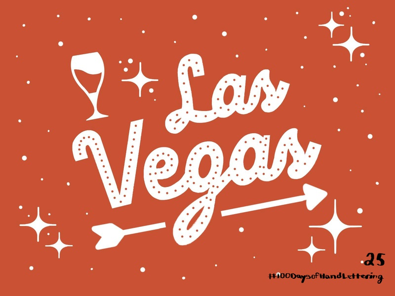 Day 25: 100 Days of Hand and Lettering glass wine glass alcohol wine stars arrow vegas las vegas red ipad procreate icon iconography type 100dayproject design lettering hand lettering typography illustration