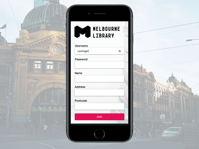 DailyUI 001 - Melbourne Library Sign Up Concept sign up concept library melbourne 001 dailyui
