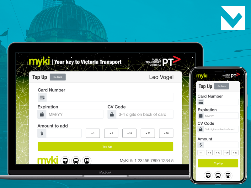 DailyUI 002 - Credit Card Checkout (Revised) top up public transport myki melbourne dailyui credit card concept checkout 002