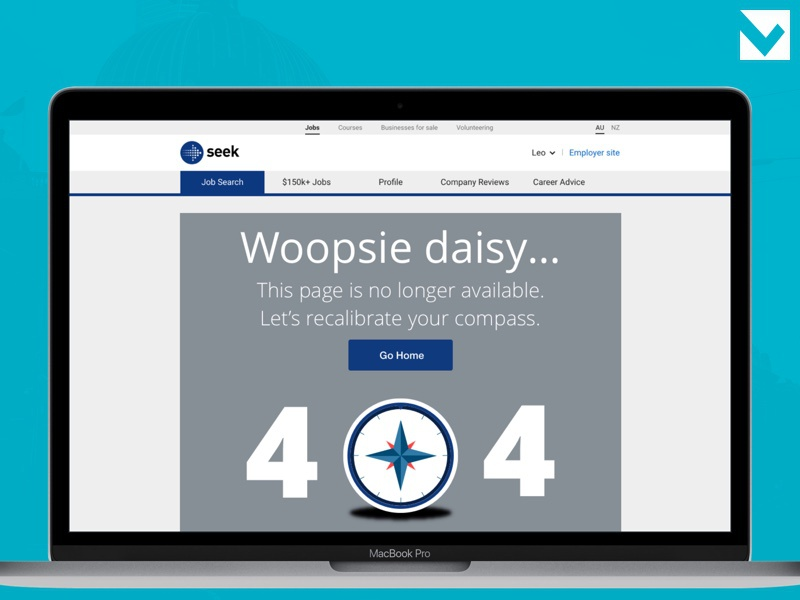 DailyUI 008 - 404 Page seek melbourne concept 008 dailyui error 404