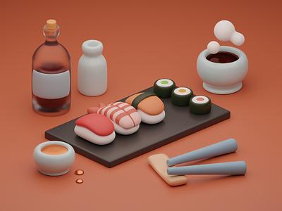 3D Japanese Food render sushi 3d art cinema 4d c4d art 3d modeling 3d food food design graphic design ui illustration blender 3d blender 2.9 blender 3d illustration 3d