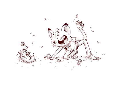 The Fox And The Hedgehog character cute drawing sketch illustration