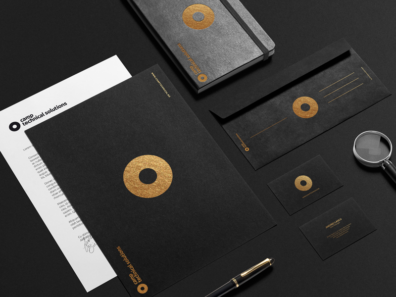 Camp Technical Solutions minimal gold circle festive black identity branding logo