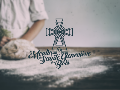 Le Moulin de Sainte Genevieve des Bois logo typography line mark vector bread bakery graphic design identity branding logo