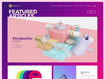 Designoholic blog articles interaction tech inspiration gradient colorful platform ux ui web design