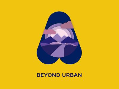 Beyond Urban (personal project) design graphic yellow purple vector shadows identity badge illustration logo