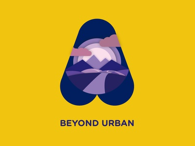 Beyond Urban (personal project) design graphic yellow purple vector shadows identity badge illustration logo