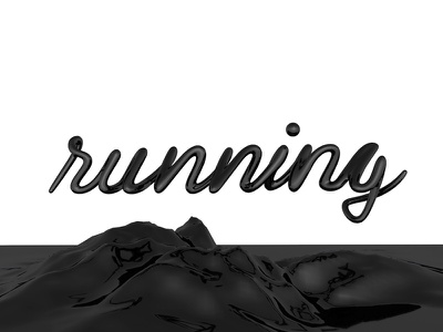 Explorations #2 floating gloss black mountain perspective typography type lettering 3d illustration c4d