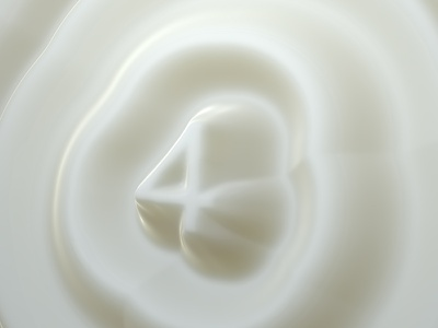 Explorations #3 floating gloss white milk perspective typography type lettering 3d illustration c4d