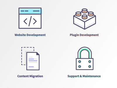 Icons for WP Section plugin support website development outline icon