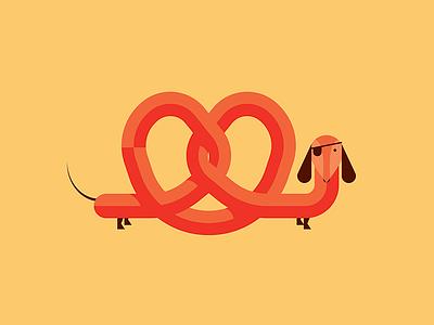 Pretzel Dog dog animal vector fun cute dachsund