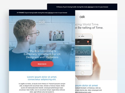 Oak Mailchimp Templates webinar launch product design material html css editable template newsletter email mailchimp