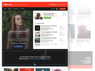 Hire.me Profile Page ui ux experience user customisable recruitment dashboard profile