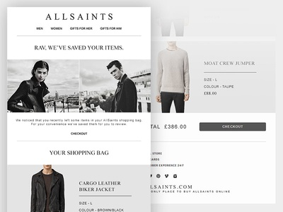 AllSaints Email Design abandon cart brand animated css responsive template email fashion
