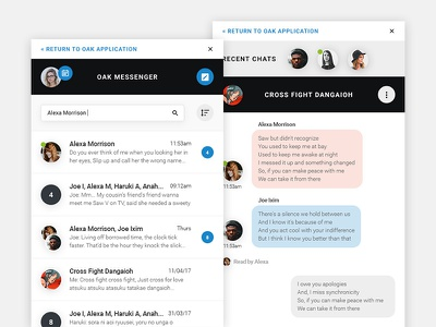 Oak Messenger responsive ui ux messaging application recent group chat app message messenger
