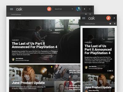 Oak News App flat design material updates intranet internal app news