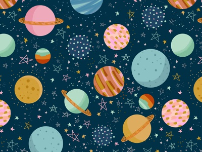 Space Dust universe stars saturn moon planets space digital illustration surface pattern pattern designer pattern illustration