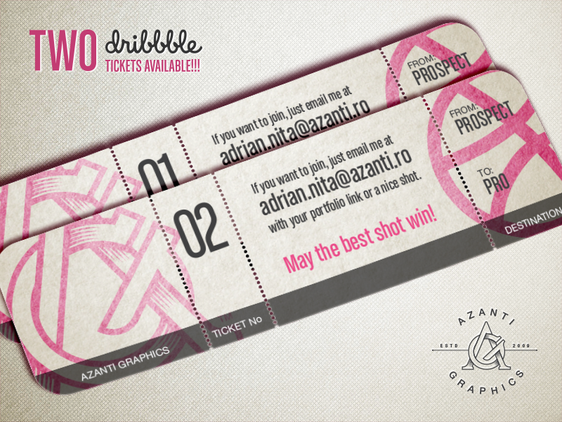 Dribbble Tickets azanti logo art graphic invite ticket dribbble