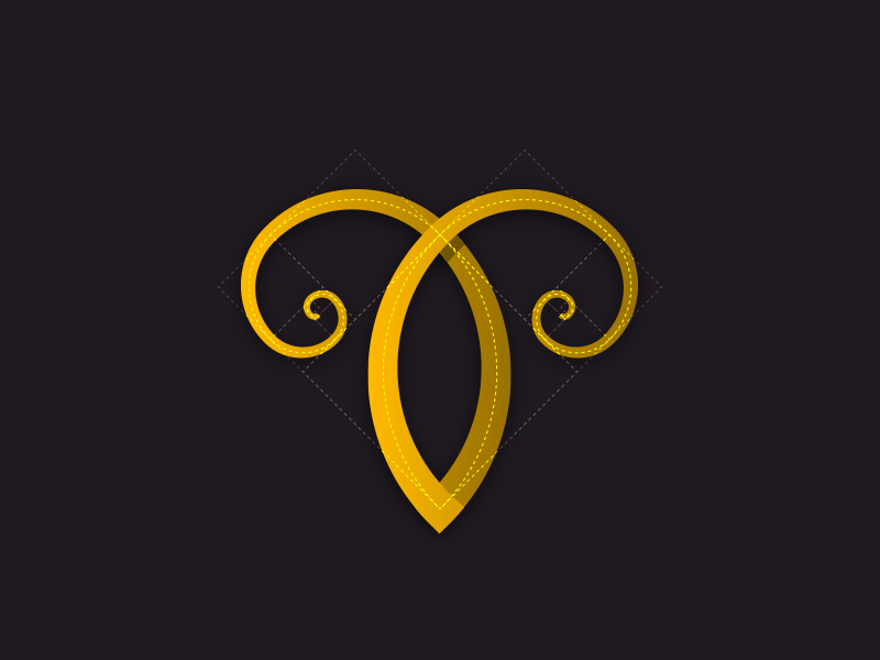 Aries golden ratio hornes symbol sign ram aries zodiac logo azantigfx azanti