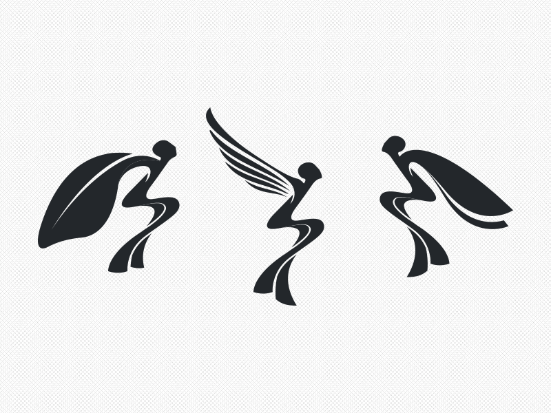 Flying Silhouettes logo simple branding butterfly green wings graphics azanti silhouettes fly
