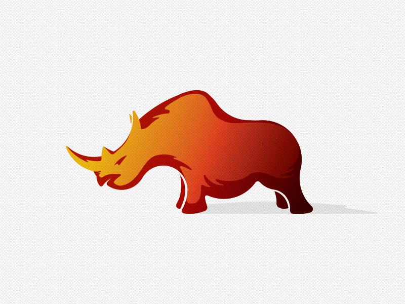 Red Rhino azanti strong power identity mark golden ratio branding red rhino logo