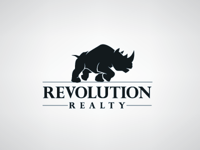 Revolution Realty rhino logo revolution real estate animal