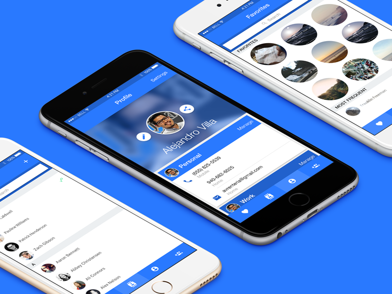 Contact Management app contacts iphone material design ui